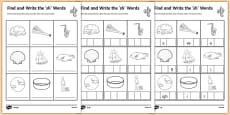 Find and Write the sh Words Differentiated Activity Sheet Pack