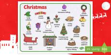 CfE Christmas Word Mat English/Gaelic