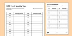 GCSE French Speaking Test Timetable Template