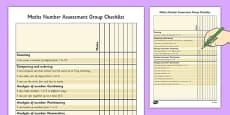 1999 Curriculum Junior Infants Maths Number Assessment Group Checklist