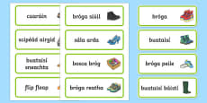 Shoe Shop Role Play Word Cards Gaeilge