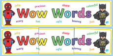 Wow Words Superhero Themed Display Banner