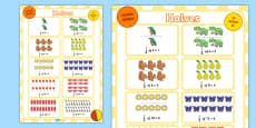 Half of Quantity Fractions Display Poster KS1 Year 1