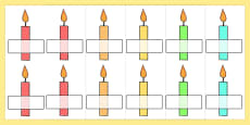 Editable Self Registration Multicoloured Candles Stripes