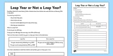 Leap Year or Not a Leap Year Activity Sheet Pack