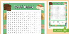 Food Items Word Search - German