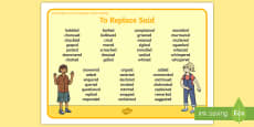 Using Higher Level Vocabulary 'Replace Said' Word Mat