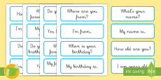 Tarjetas de vocabulario: Frases básicas - Inglés