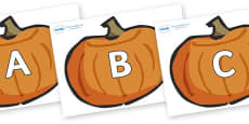 A-Z Alphabet on Pumpkins