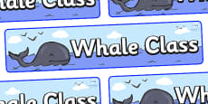 Whale Themed Classroom Display Banner