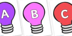A-Z Alphabet on Lightbulbs (Multicolour)