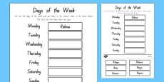 Days of the Week Cut and Stick Activity Sheet Te Reo Māori