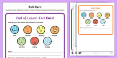 Exit Cards Activity Sheet