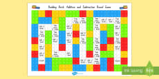 Building Brick Addition and Subtraction Board Game