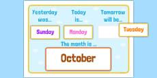 Yesterday, Today, Tomorrow Calendar