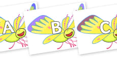 A-Z Alphabet on Yellow Butterfly to Support Teaching on The Crunching Munching Caterpillar