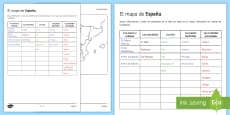 The Map of Spain Research Activity Sheet Spanish