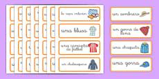 Tarjetas de vocabulario de la tienda de ropa