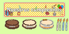 Spanish Translation Editable Birthday Display Set (Cakes) Spanish