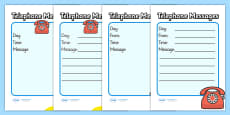 Travel Agents Telephone Message Sheets