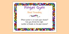 EYFS Bead Threading Finger Gym Children's Prompt Card