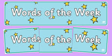 Words of the Week Display Banner