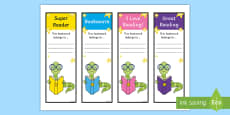 Editable Bookworm Bookmarks Editable