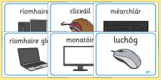 Computer Area Word Labels Gaeilge
