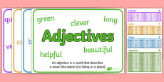 Noun, Adjective, Adverb and Verb Word Mat and Poster Pack