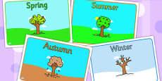 Editable Class Group Signs Four Seasons