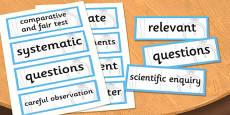 LKS2 Working Scientifically Scientific Vocabulary Cards