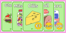 The Supermarket Display Posters Gaeilge