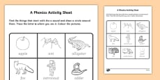 a Phonics Activity Sheet