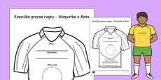 All About Me Rugby Shirt Activity Sheet Polish