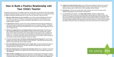 Building a Positive Relationship with Your Child's Teacher Parent and Carer Information Sheet