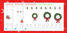 Christmas Pencil Control Activity Sheets English/Polish