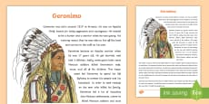 Native Americans Geronimo Information Sheet