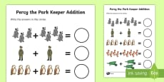 Addition Sheet to Support Teaching on Percy the Park Keeper