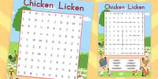 Australia - Chicken Licken Wordsearch