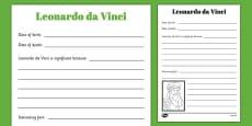 Leonardo da Vinci Significant Individual Writing Frame