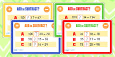 Addition and Subtraction Maths Challenge Cards