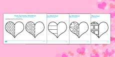 Valentine's Day Heart Symmetry Sheets Romanian Translation
