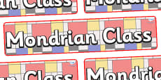 Mondrian Themed Classroom Display Banner