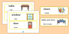 Classroom Furniture Labels Polish Translation
