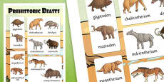 Prehistoric Beasts Vocabulary Poster