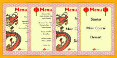 Chinese Restaurant / Takeaway Menus