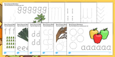 Autumn and Harvest Themed Pencil Control Sheets A-Z