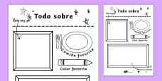 All About Me Colouring and Drawing Activity Sheet Spanish