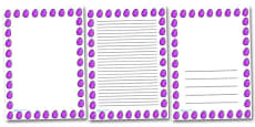 Purple Striped Easter Egg Portrait Page Borders