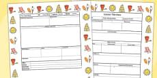 Seaside Themed Editable Individual Lesson Plan Template
